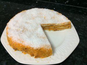 tarta de zanahoria, porción